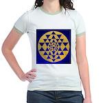 s002.sri yantra gold on blue Jr. Ringer T-Shirt