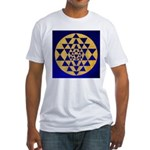 s002.sri yantra gold on blue Fitted T-Shirt