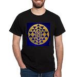 s002.sri yantra gold on blue Dark T-Shirt