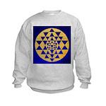 s002.sri yantra gold on blue Kids Sweatshirt