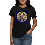 s002.sri yantra gold on blue Women's Dark T-Shirt