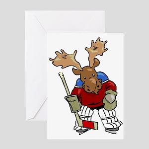 Moose Playing Hockey Greeting Card