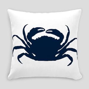 Navy blue simple sea crab illustra Everyday Pillow