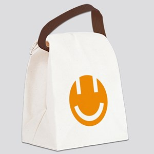 orange smile face white round Canvas Lunch Bag