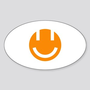 orange smile face clear Sticker (Oval)