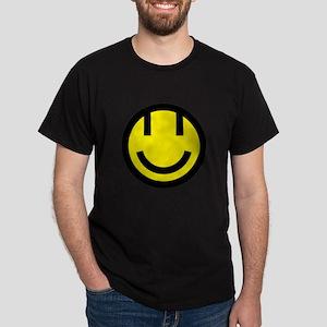 yellow smile face black round Dark T-Shirt