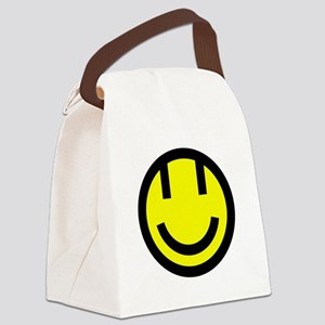 yellow smile face black round Canvas Lunch Bag
