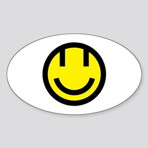 yellow smile face black round Sticker (Oval)
