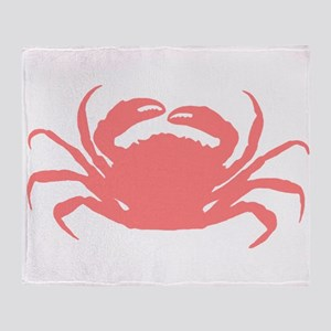 Coral red sae crab illustration Throw Blanket