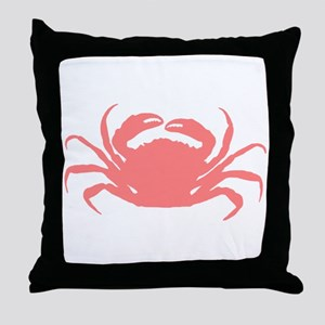 Coral red sae crab illustration Throw Pillow