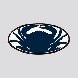 Navy blue simple sea crab illustration Patch