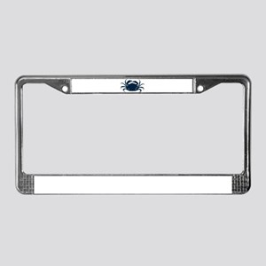 Navy blue simple sea crab illu License Plate Frame
