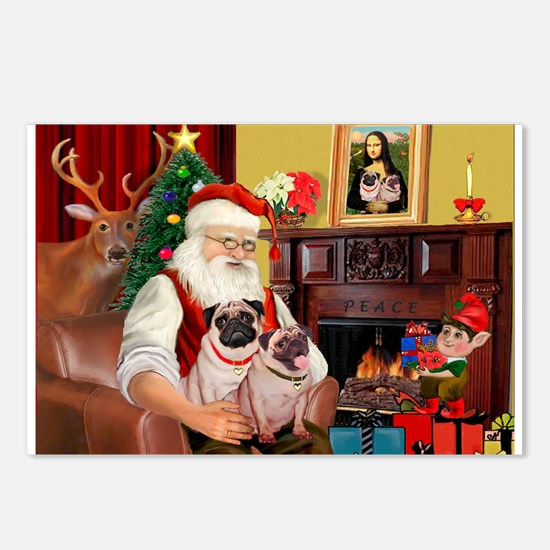Santa's fawn Pug pair Postcards (Package of 8)