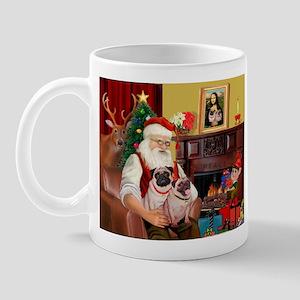Santa's fawn Pug pair Mug