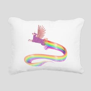 Allamacorn Rainbow Rectangular Canvas Pillow
