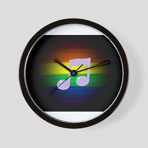 gay rainbow music note art Wall Clock