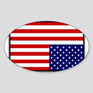 DISTRESSED AMERICAN FLAG Sticker (Oval)