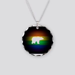 rainbow gay bear art Necklace Circle Charm