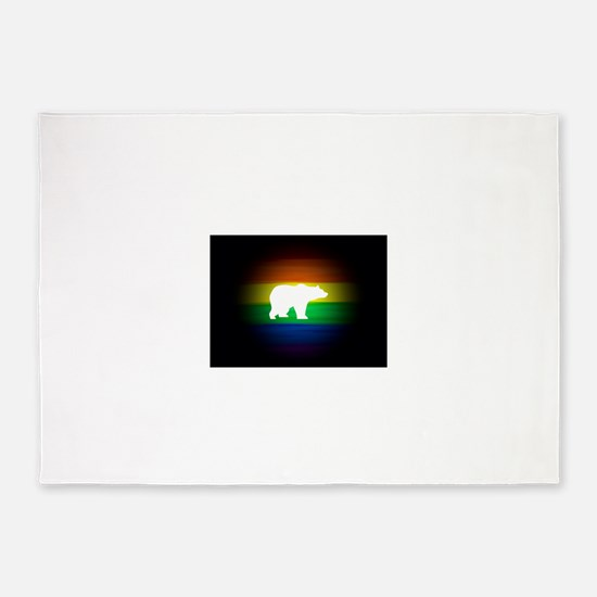 rainbow gay bear art 5'x7'Area Rug