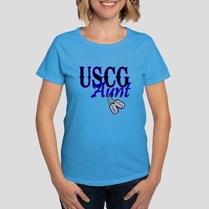 USCG Dog Tag Aunt Women's Dark T-Shirt
