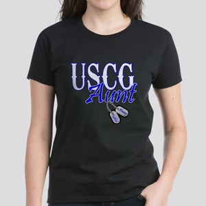 USCG Dog Tag Aunt Women's Dark T-Shirt