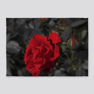 red rose in dark mourning death bac 5'x7'Area Rug