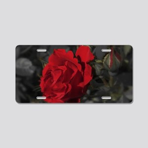 red rose in dark mourning d Aluminum License Plate