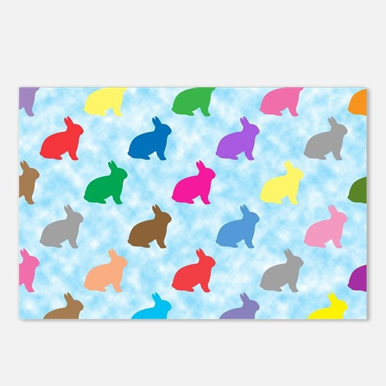 Colorful bunny shapes pat Postcards (Package of 8)