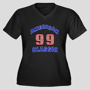 American Cla Women's Plus Size V-Neck Dark T-Shirt