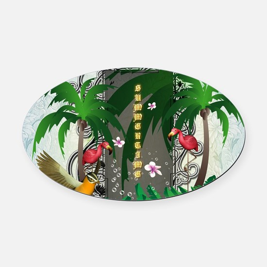 Summertime, flamingo with palm trees Oval Car Magn