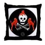 Skull with Devils Throw Pillow