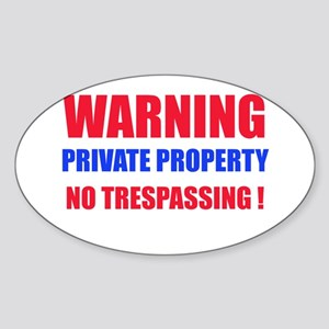 WARNING PRIVATE PROPERTY Oval Sticker
