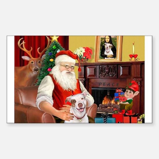 Santa's Pit Bull Rectangle Decal