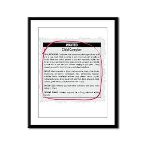 Child Caregiver Ad Framed Panel Print