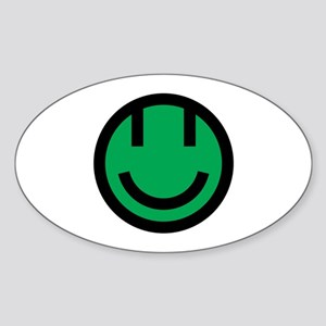 green smile face black round Sticker (Oval)