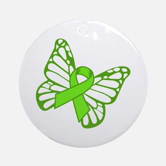 Lymphoma Butterfly Round Ornament
