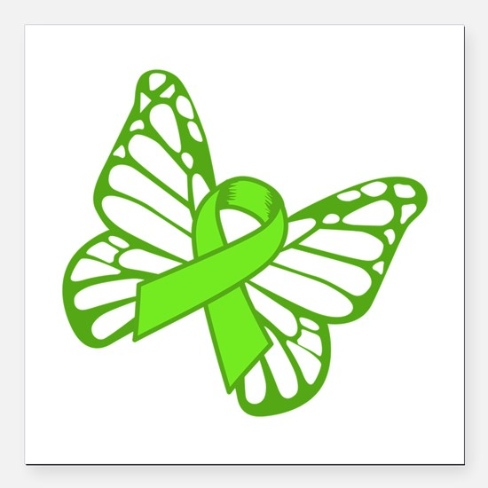 """Lymphoma Butterfly Square Car Magnet 3"""" x 3"""""""