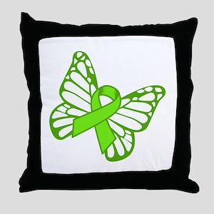 Lymphoma Butterfly Throw Pillow