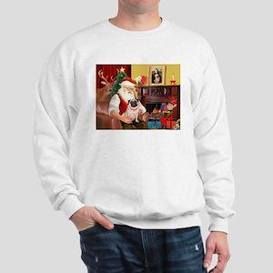 Santa's fawn Pug (#21) Sweatshirt