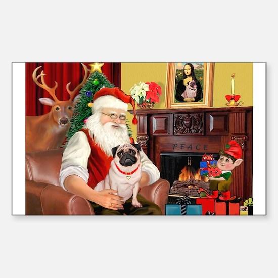 Santa's fawn Pug (#21) Rectangle Decal