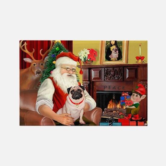 Santa's fawn Pug (#21) Rectangle Magnet