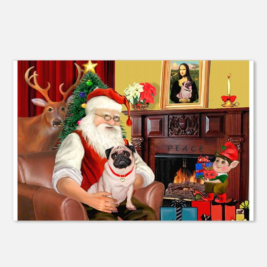 Santa's fawn Pug (#21) Postcards (Package of 8)