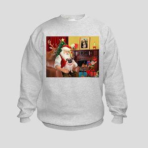 Santa's fawn Pug (#21) Kids Sweatshirt
