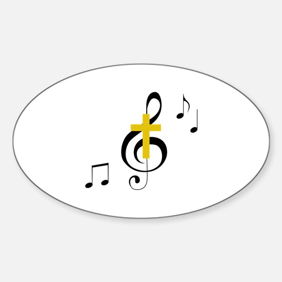 Treble Clef And Cross Decal