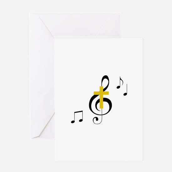 Treble Clef And Cross Greeting Cards