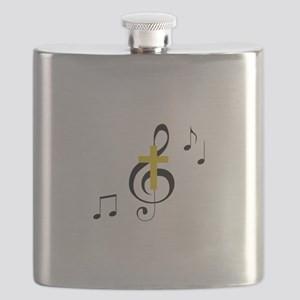 Treble Clef And Cross Flask