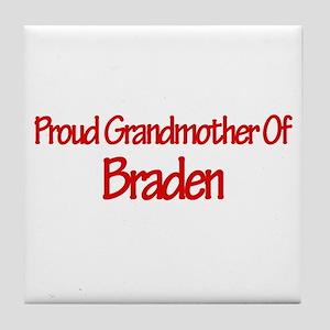 Proud Grandmother of Braden Tile Coaster