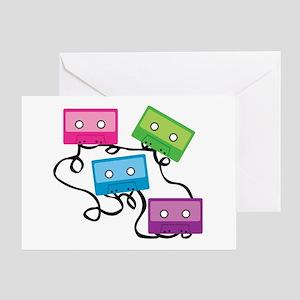 Retro Broken Cassette Tapes Greeting Card