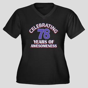 76th birthda Women's Plus Size V-Neck Dark T-Shirt