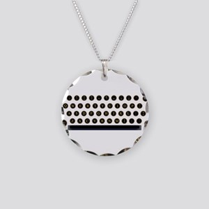 Typewriter Key Layout Necklace Circle Charm